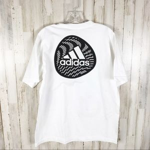 Adidas Logo White Tee Shirt Trefoil Souvenir Top M